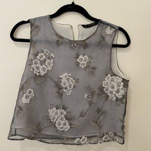 Zara print crop top with liner